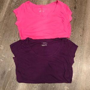Liz Lange maternity shirt bundle pink and purple